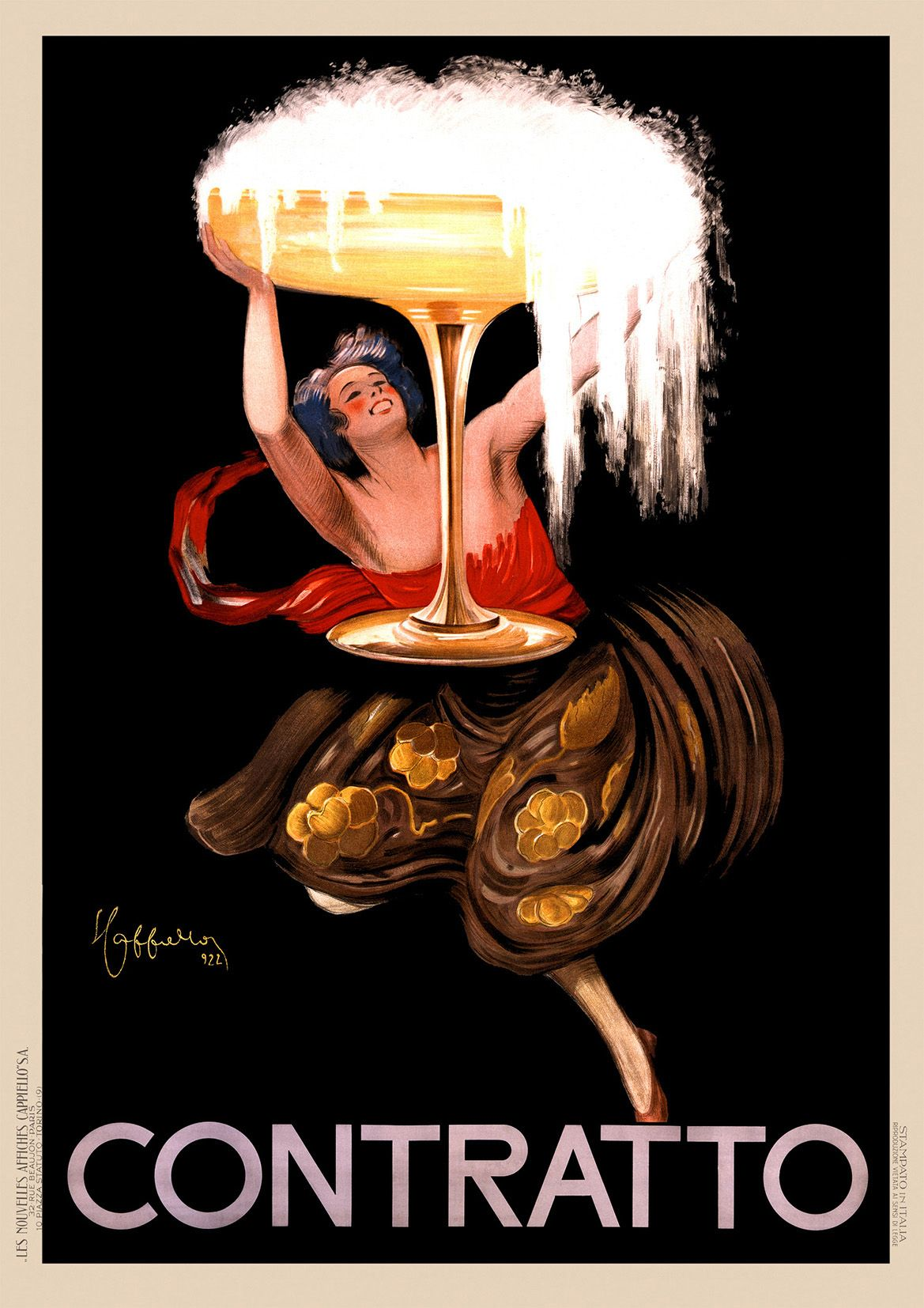 Contratto asti champagne 1922 italy vintage advertising for Contratto 3 2