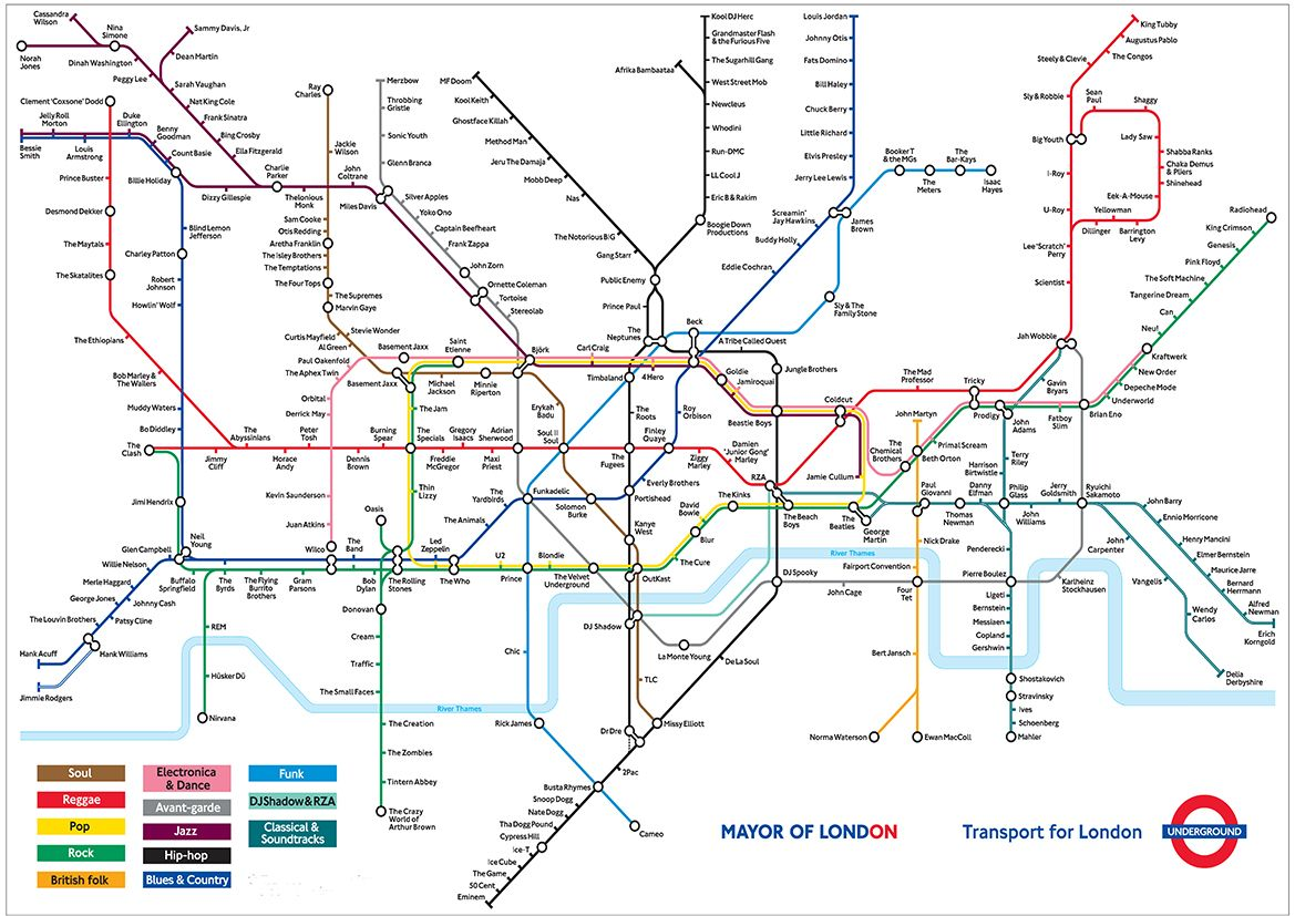 London Underground Music Map Print Poster Sizes A A A A - World map to print a4