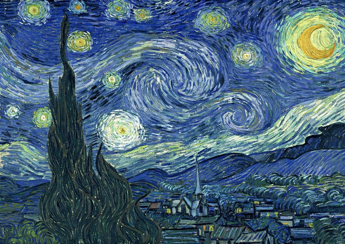 van gogh vincent starry night fine art print poster sizes a4 a3 a2 a1 002. Black Bedroom Furniture Sets. Home Design Ideas