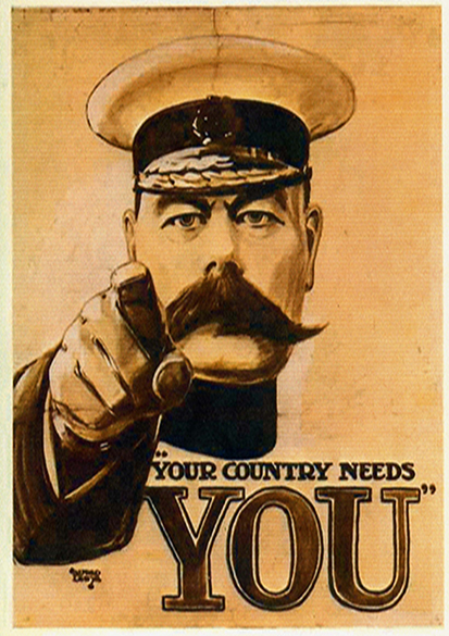 Lord Kitchener: Your Country Needs You. Vintage Propaganda Military Print.  (002685)