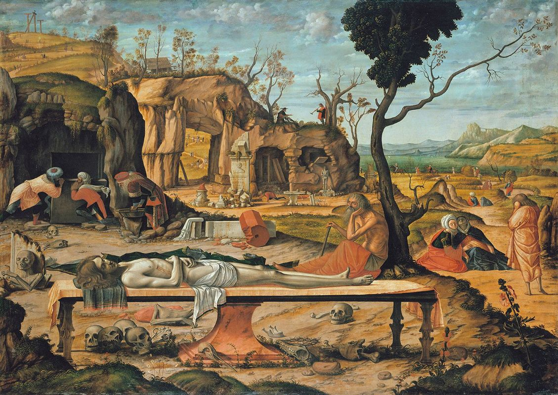 Carpaccio, Vittore: Preparation of Christ's Tomb. Fine Art Print/Poster. Sizes: A4/A3/A2/A1 (001900)