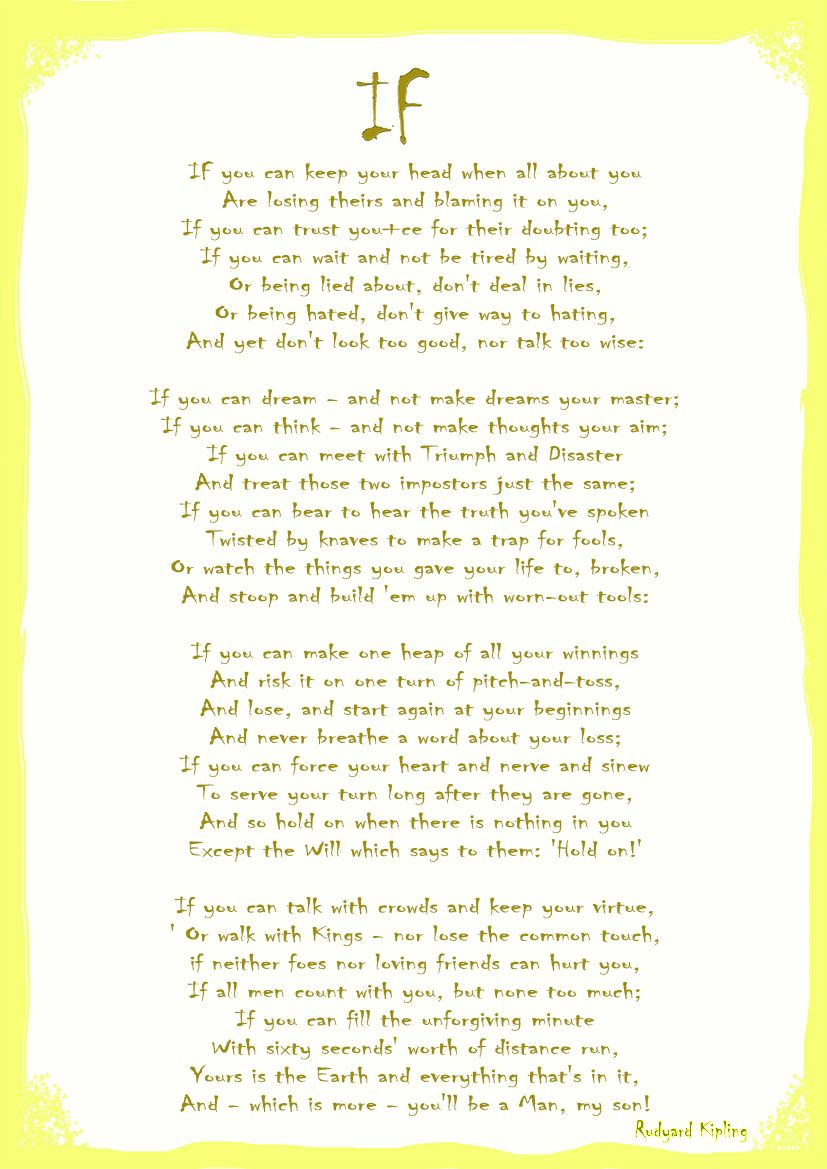 image about If by Rudyard Kipling Printable referred to as If as a result of Rudyard Kipling. Poem Print/Poster. Measurements: A4/A3/A2/A1 (4768)