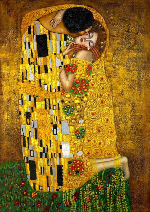 Klimt, Gustav: The Kiss. Fine Art Print/Poster. Sizes: A4/A3/A2/A1 (004)