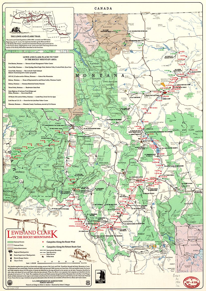 picture about Lewis and Clark Printable Map identify Map Of Lewis and Clark in just Rocky Mountains. Print/Poster (4829)