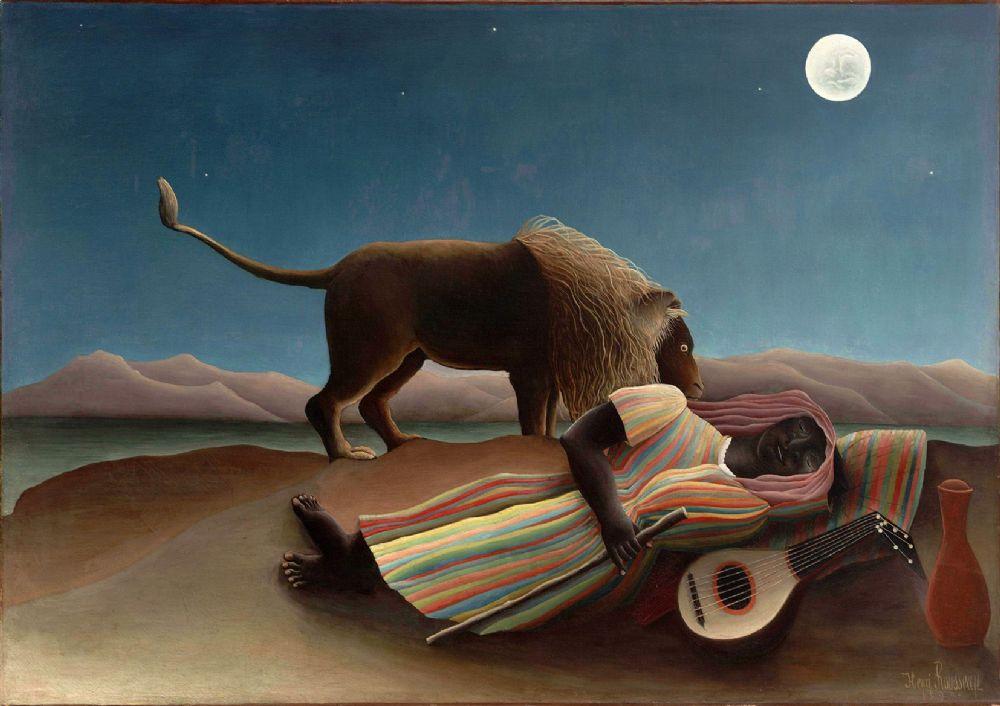 The Sleeping Gypsy Art Canvas//Poster Print A3//A2//A1 Rousseau 1897