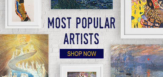 Popular and famous art prints: Van gogh, monet, cezanne, Klimt